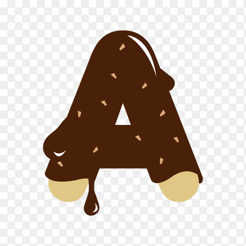Letter A with chocolate on transparent background PNG
