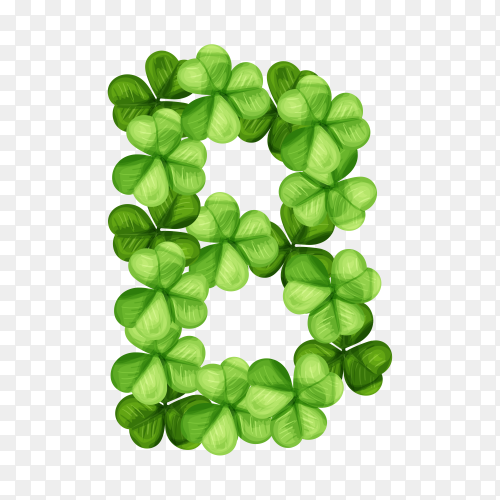 Letter B clover ornament isolated on transparent background PNG