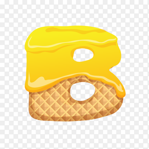 Letter B made of ice cream waffle on transparent background PNG