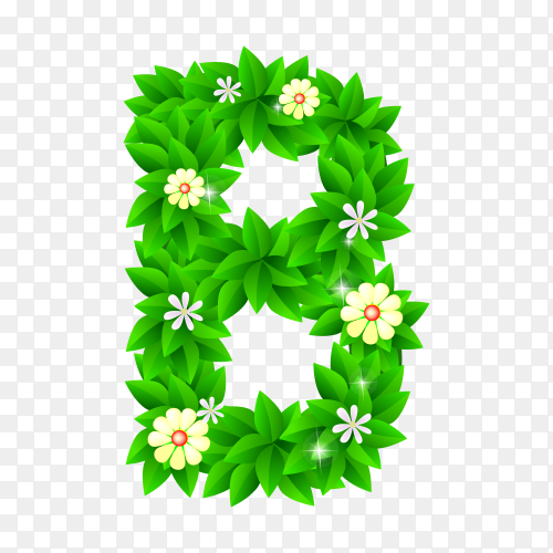 Letter B of the green and white flowers isolated on transparent background PNG