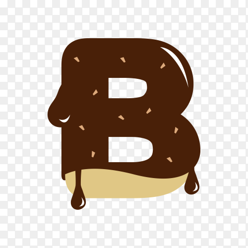 Letter B with chocolate on transparent background PNG
