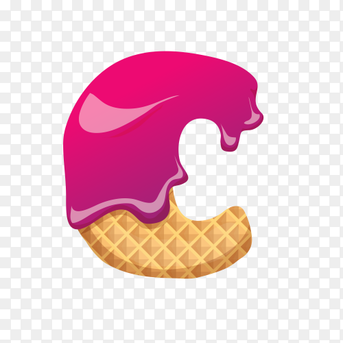 Letter C made of ice cream waffle on transparent background PNG