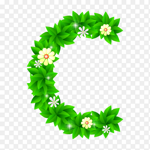 Letter C of the green and white flowers isolated on transparent background PNG