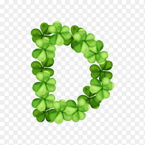 Letter D clover ornament isolated on transparent background PNG