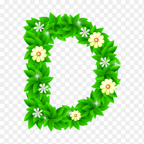Letter D of the green and white flowers isolated on transparent background PNG