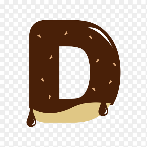 Letter D with chocolate on transparent background PNG