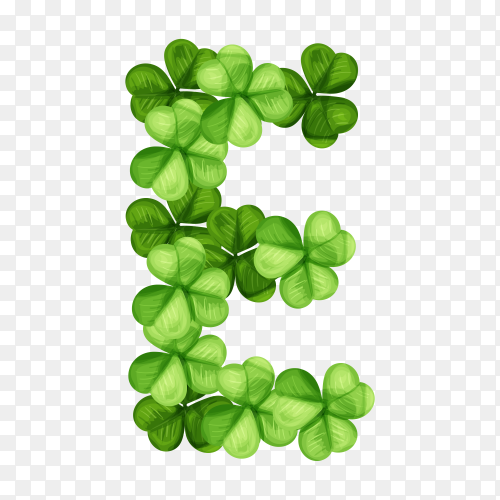 Letter E clover ornament isolated on transparent background PNG