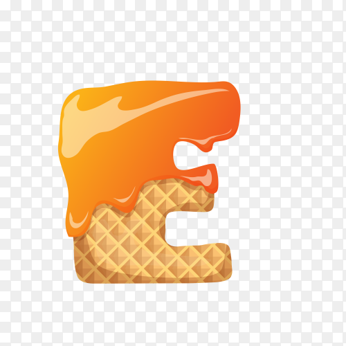 Letter E made of ice cream waffle on transparent background PNG