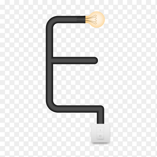 Letter E with bulb lights design on transparent background PNG