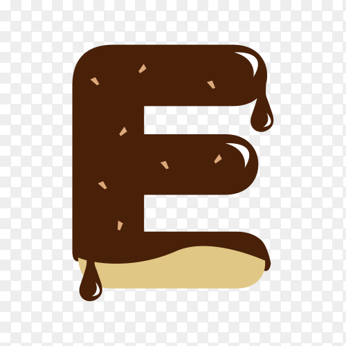 Letter E with chocolate on transparent background PNG