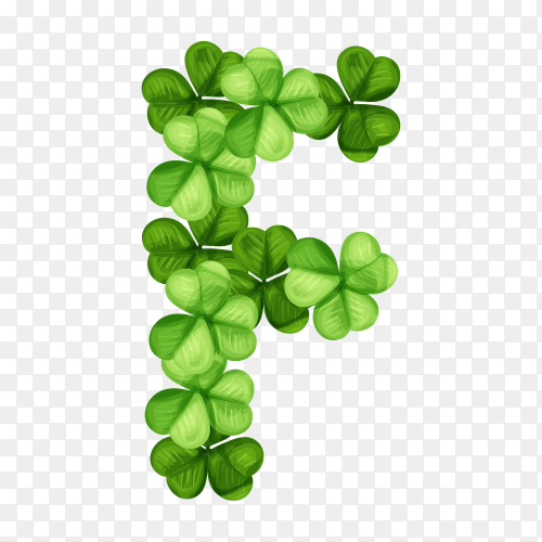 Letter F clover ornament isolated on transparent background PNG
