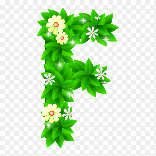 Letter F of the green and white flowers isolated on transparent background PNG