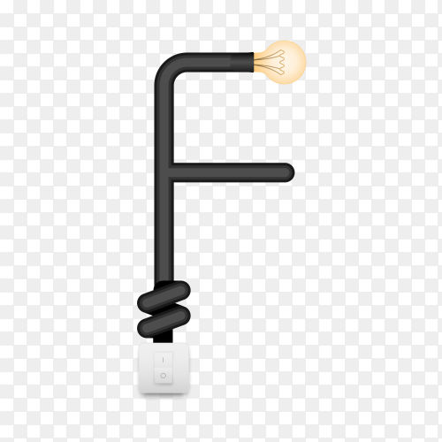 Letter F with bulb lights design on transparent background PNG