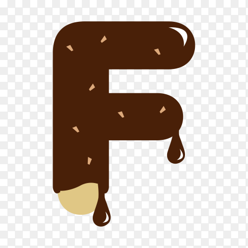 Letter F with chocolate on transparent background PNG