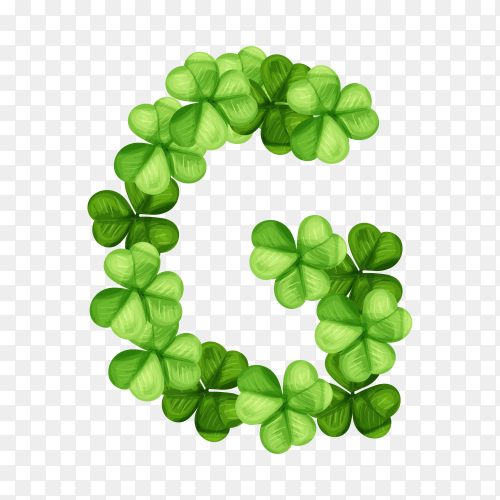 Letter G clover ornament isolated on transparent background PNG