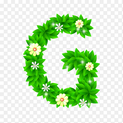 Letter G of the green and white flowers isolated on transparent background PNG