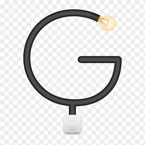 Letter G with bulb lights design on transparent background PNG