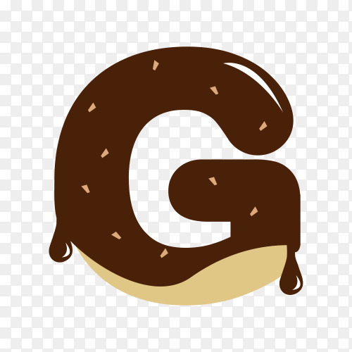 Letter G with chocolate on transparent background PNG
