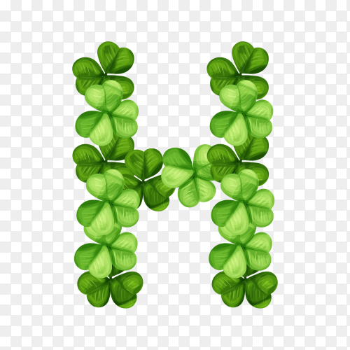 Letter H clover ornament isolated on transparent background PNG