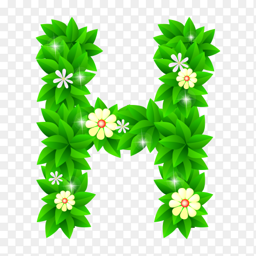Letter H of the green and white flowers isolated on transparent background PNG
