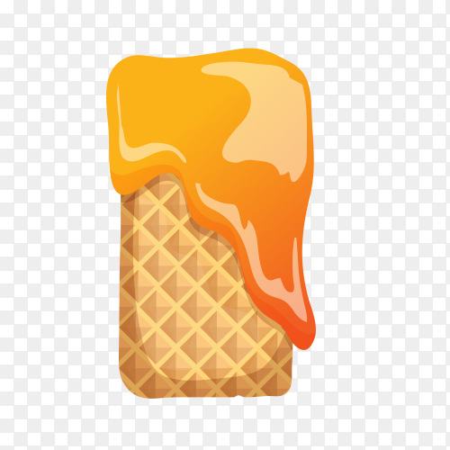 Letter I made of ice cream waffle on transparent background PNG