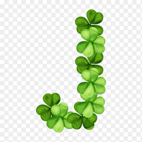 Letter J clover ornament isolated on transparent background PNG