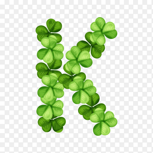 Letter K clover ornament isolated on transparent background PNG