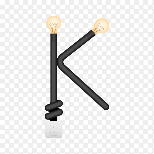 Letter K with bulb lights design on transparent background PNG