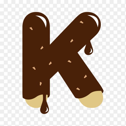 Letter K with chocolate on transparent background PNG