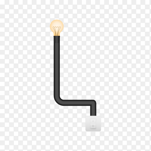 Letter L with bulb lights design on transparent background PNG
