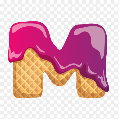 Letter M made of ice cream waffle on transparent background PNG