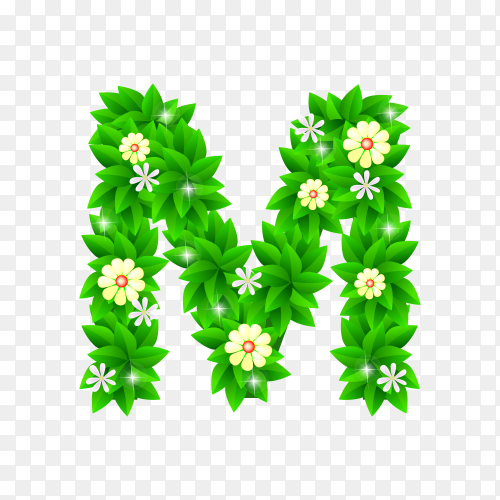 Letter M of the green and white flowers isolated on transparent background PNG