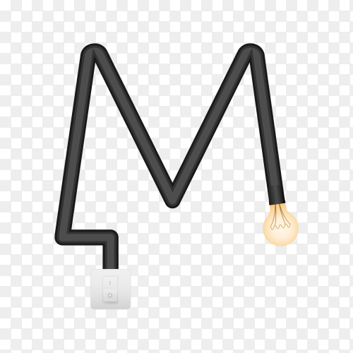 Letter M with bulb lights design on transparent background PNG