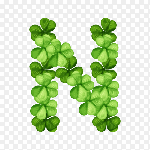 Letter N clover ornament isolated on transparent background PNG