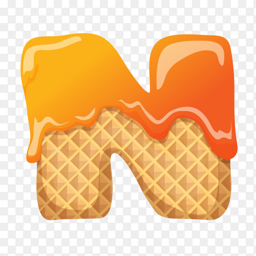 Letter N made of ice cream waffle on transparent background PNG