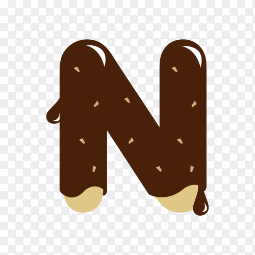 Letter N with chocolate on transparent background PNG
