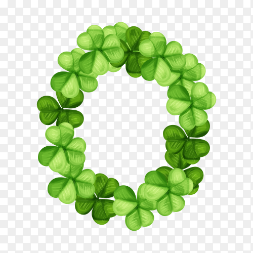 Letter O clover ornament isolated on transparent background PNG
