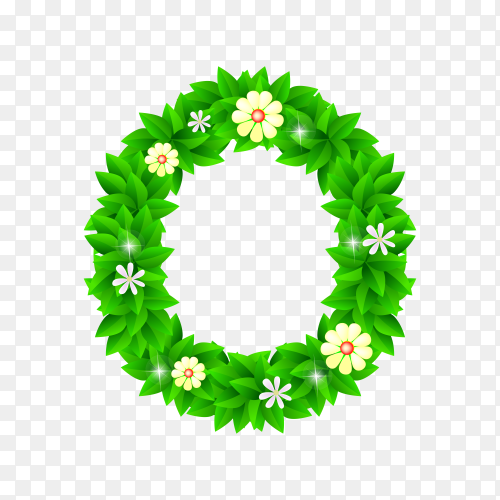 Letter O of the green and white flowers isolated on transparent background PNG
