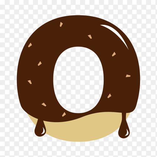 Letter O with chocolate on transparent background PNG