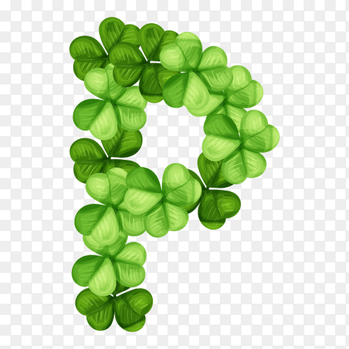 Letter P clover ornament isolated on transparent background PNG