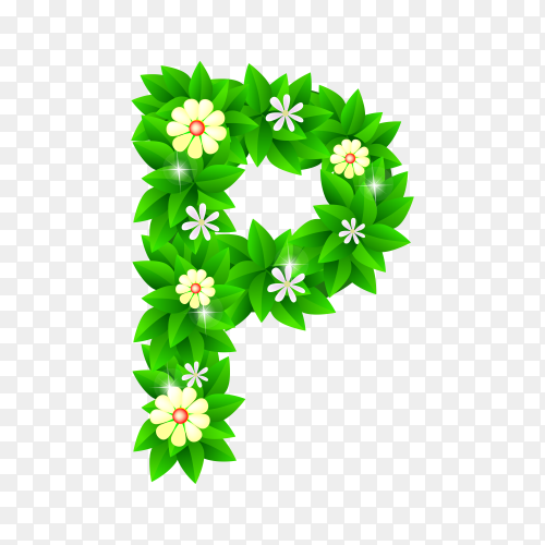 Letter P of the green and white flowers isolated on transparent background PNG