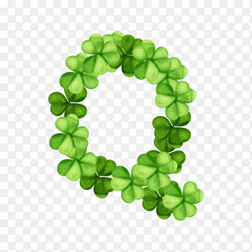 Letter Q clover ornament isolated on transparent background PNG