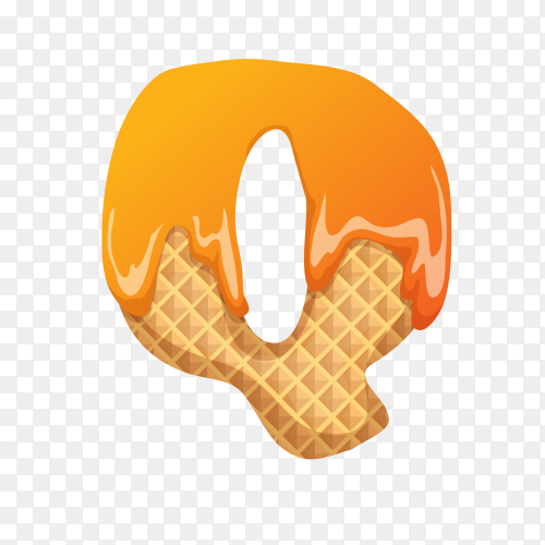 Letter Q made of ice cream waffle on transparent background PNG
