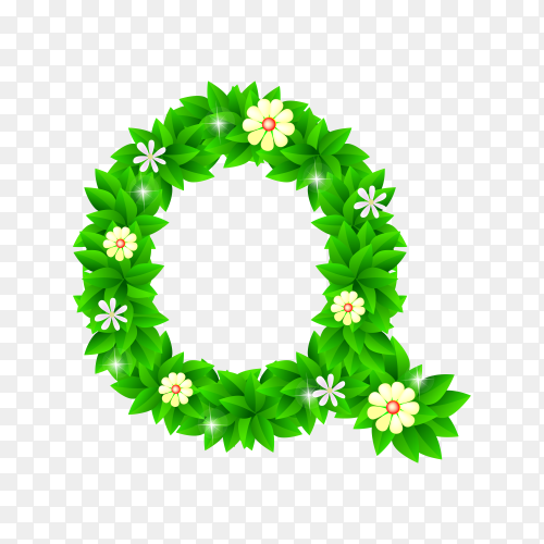 Letter Q of the green and white flowers isolated on transparent background PNG
