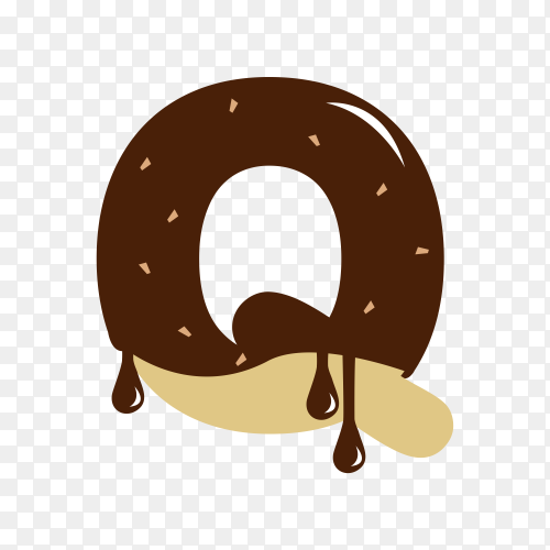 Letter Q with chocolate on transparent background PNG