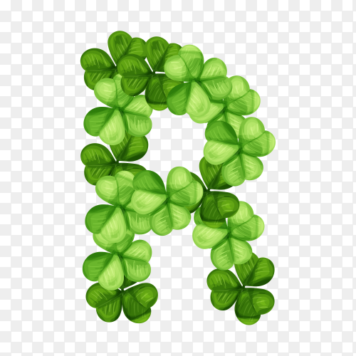 Letter R clover ornament isolated on transparent background PNG