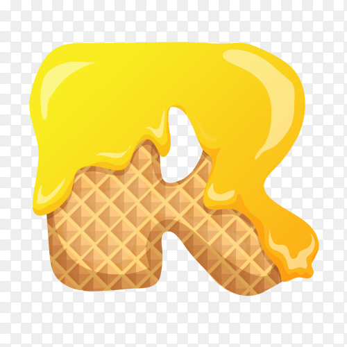 Letter R made of ice cream waffle on transparent background PNG