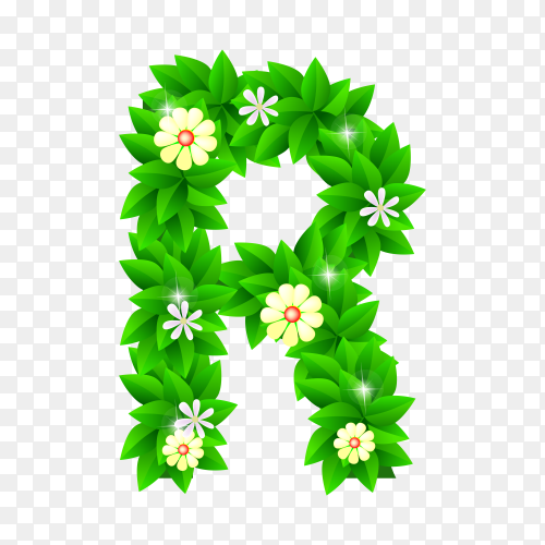 Letter R of the green and white flowers isolated on transparent background PNG