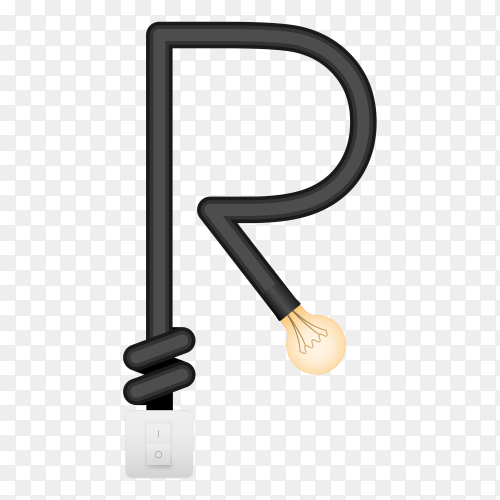 Letter R with bulb lights design on transparent background PNG