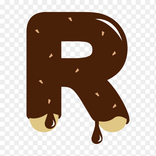 Letter R with chocolate on transparent background PNG